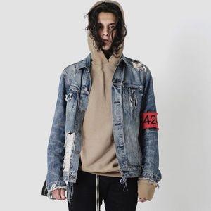 Destroy washed old zipper denim jacket